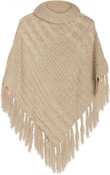 styleBREAKER warm knitted poncho with shawl collar, fringed, polo neck and plait pattern, ladies 08010016  – Bild 2