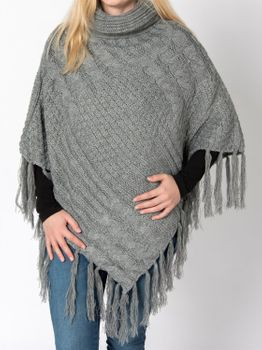 styleBREAKER warm knitted poncho with shawl collar, fringed, polo neck and plait pattern, ladies 08010016  – Bild 5