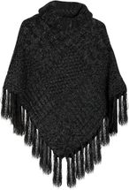 styleBREAKER warm knitted poncho with shawl collar, fringed, polo neck and plait pattern, ladies 08010016  – Bild 3