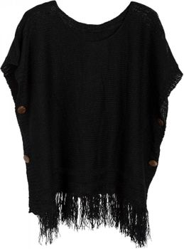 styleBREAKER knitted poncho with sleeves and decorative shimmering knobs, round-necked, ladies 08010017 – Bild 10