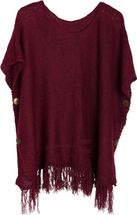 styleBREAKER knitted poncho with sleeves and decorative shimmering knobs, round-necked, ladies 08010017 – Bild 1