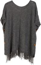 styleBREAKER knitted poncho with sleeves and decorative shimmering knobs, round-necked, ladies 08010017 – Bild 7