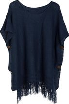 styleBREAKER knitted poncho with sleeves and decorative shimmering knobs, round-necked, ladies 08010017 – Bild 13