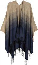 styleBREAKER bi-coloured lightweight poncho, gradient pattern, fringed, drape coat, plaid, reversible poncho, ladies 08010018 – Bild 1