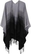 styleBREAKER bi-coloured lightweight poncho, gradient pattern, fringed, drape coat, plaid, reversible poncho, ladies 08010018 – Bild 10