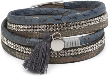 styleBREAKER wrap bracelet with rhinestone, honeycomb pattern and tassel, magnetic closure bracelet, ladies 05040037 – Bild 4