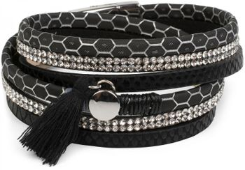 styleBREAKER wrap bracelet with rhinestone, honeycomb pattern and tassel, magnetic closure bracelet, ladies 05040037 – Bild 1