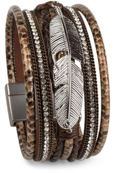 styleBREAKER soft bracelet with rhinestone, braided elements, chain and feather, magnetic closure, ladies 05040040 – Bild 1