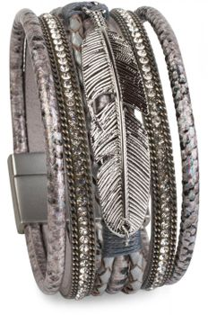 styleBREAKER soft bracelet with rhinestone, braided elements, chain and feather, magnetic closure, ladies 05040040 – Bild 3