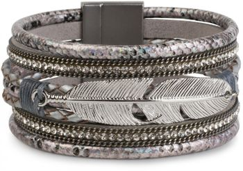 styleBREAKER soft bracelet with rhinestone, braided elements, chain and feather, magnetic closure, ladies 05040040 – Bild 8