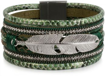 styleBREAKER soft bracelet with rhinestone, braided elements, chain and feather, magnetic closure, ladies 05040040 – Bild 10