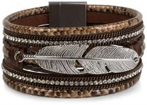 styleBREAKER soft bracelet with rhinestone, braided elements, chain and feather, magnetic closure, ladies 05040040 – Bild 6