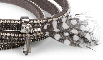 styleBREAKER Wickelarmband mit Strass, Kette, Perlen und Feder Anhänger, Magnetverschluss, Glitzersteine, Damen 05040041 – Bild 6