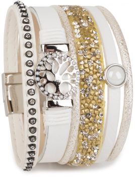 styleBREAKER bracelet with tree of life amulet, pearl, rhinestone, glass crystals, magnetic closure, ladies 05040042 – Bild 5