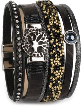 styleBREAKER bracelet with tree of life amulet, pearl, rhinestone, glass crystals, magnetic closure, ladies 05040042 – Bild 2