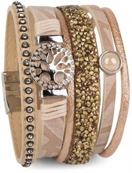styleBREAKER bracelet with tree of life amulet, pearl, rhinestone, glass crystals, magnetic closure, ladies 05040042 – Bild 1