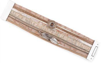 styleBREAKER bracelet with ethno style amulet, feather pendant, rhinestone, woven fabric, magnetic closure, ladies 05040043 – Bild 11