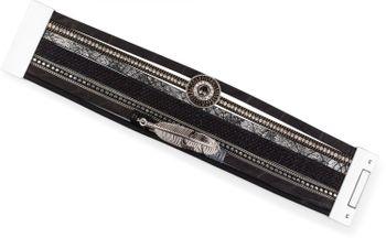 styleBREAKER bracelet with ethno style amulet, feather pendant, rhinestone, woven fabric, magnetic closure, ladies 05040043 – Bild 8