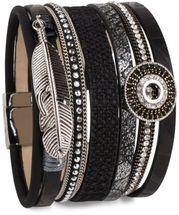 styleBREAKER bracelet with ethno style amulet, feather pendant, rhinestone, woven fabric, magnetic closure, ladies 05040043 – Bild 1