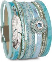 styleBREAKER Armband mit Ethno Style Amulett, Feder Anhänger, Strasssteine, Webstoff, Magnetverschluss, Damen 05040043 – Bild 7