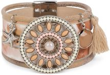 styleBREAKER bracelet with ethno amulet decorated with pearls and rhinestone, starfish pendant, tassel, magnetic closure, ladies 05040045 – Bild 1