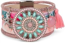 styleBREAKER bracelet with ethno amulet decorated with pearls and rhinestone, starfish pendant, tassel, magnetic closure, ladies 05040045 – Bild 2