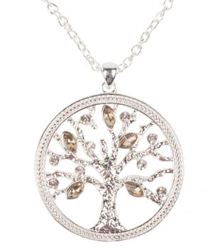 styleBREAKER Necklace with tree of life pendant and rhinestones, pea chain and carabiner clasp, women 05030011 – Bild 2