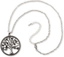styleBREAKER Necklace with tree of life pendant and rhinestones, pea chain and carabiner clasp, women 05030011 – Bild 4