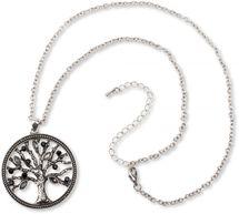 styleBREAKER Halskette mit Lebensbaum Anhänger und Strass Schmucksteinen, Erbskette und Karabiner-Verschluss, Damen 05030011 – Bild 4