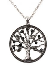 styleBREAKER Necklace with tree of life pendant and rhinestones, pea chain and carabiner clasp, women 05030011 – Bild 1