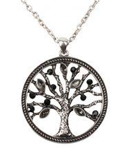 styleBREAKER Halskette mit Lebensbaum Anhänger und Strass Schmucksteinen, Erbskette und Karabiner-Verschluss, Damen 05030011 – Bild 1