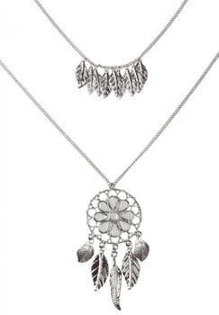 styleBREAKER Halskette mit Traumfänger Anhänger Schmucksteine, Federn, Erbskette und Karabinerverschluss, Damen 05030013 – Bild 1