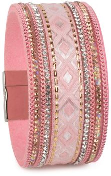 styleBREAKER soft bracelet with rhinestone, chain- and ethno cloth element, magnetic closure, ladies 05040046 – Bild 6