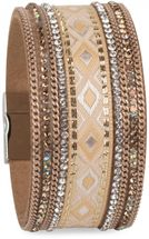 styleBREAKER soft bracelet with rhinestone, chain- and ethno cloth element, magnetic closure, ladies 05040046 – Bild 4