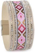 styleBREAKER soft bracelet with rhinestone, chain- and ethno cloth element, magnetic closure, ladies 05040046 – Bild 5