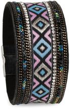 styleBREAKER soft bracelet with rhinestone, chain- and ethno cloth element, magnetic closure, ladies 05040046 – Bild 2