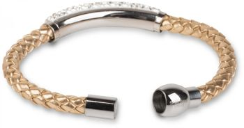 styleBREAKER braided bracelet with rhinestone and magnetic closure, ladies 05040047 – Bild 5