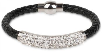 styleBREAKER braided bracelet with rhinestone and magnetic closure, ladies 05040047 – Bild 1
