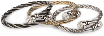 styleBREAKER braided stainless steel bracelet with rhinestone at both ends, ladies 05040048 – Bild 11