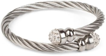 styleBREAKER braided stainless steel bracelet with rhinestone at both ends, ladies 05040048 – Bild 4