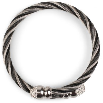 styleBREAKER braided stainless steel bracelet with rhinestone at both ends, ladies 05040048 – Bild 2