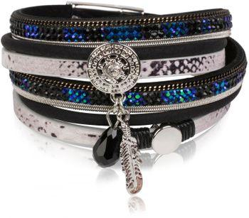 styleBREAKER soft 3-strand bracelet with dreamcatcher amulet, feather and gem pendant, women 05040049 – Bild 1