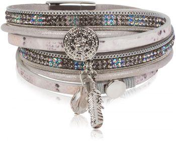 styleBREAKER soft 3-strand bracelet with dreamcatcher amulet, feather and gem pendant, women 05040049 – Bild 3