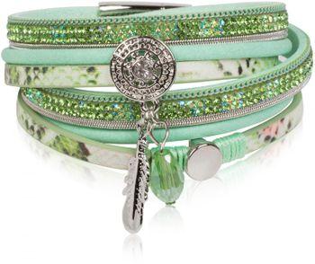 styleBREAKER soft 3-strand bracelet with dreamcatcher amulet, feather and gem pendant, women 05040049 – Bild 4