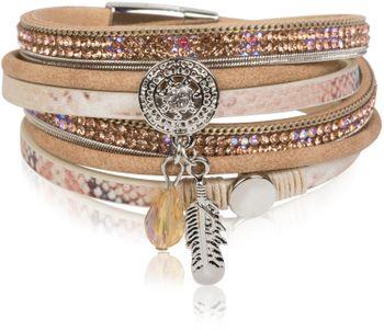 styleBREAKER soft 3-strand bracelet with dreamcatcher amulet, feather and gem pendant, women 05040049 – Bild 6