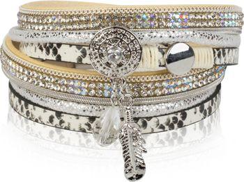 styleBREAKER soft 3-strand bracelet with dreamcatcher amulet, feather and gem pendant, women 05040049 – Bild 9