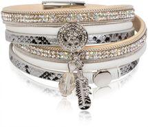 styleBREAKER soft 3-strand bracelet with dreamcatcher amulet, feather and gem pendant, women 05040049 – Bild 8