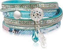 styleBREAKER soft 3-strand bracelet with dreamcatcher amulet, feather and gem pendant, women 05040049 – Bild 2