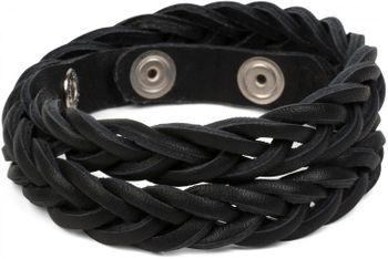 styleBREAKER Leder Armband in Flecht-Optik, Vintage Style, Lederarmband, Unisex 05040053 – Bild 3