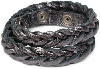 styleBREAKER Leder Armband in Flecht-Optik, Vintage Style, Lederarmband, Unisex 05040053 – Bild 14